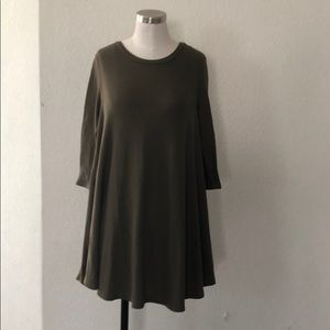 Ribbed olive green dress